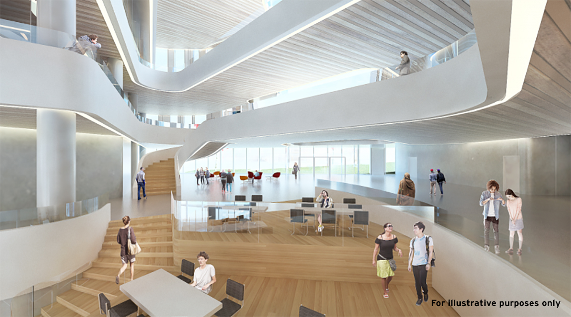 Markham Centre Campus, York University - Interior-view-of-2nd-Level-Lounge-to-the-Common