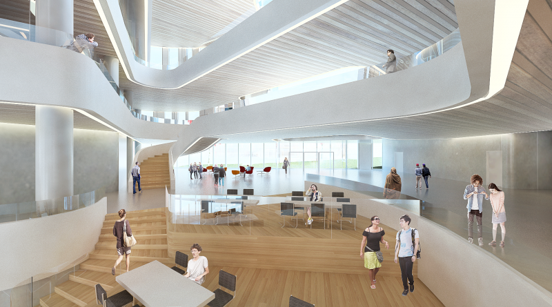 Interior - view of 2nd Level Lounge to the Common, Markham Centre Campus – for illustrative purposes only