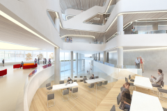 Interior - 2nd Level lounge & view of Rivis Entrance Hall, Markham Centre Campus – for illustrative purposes only